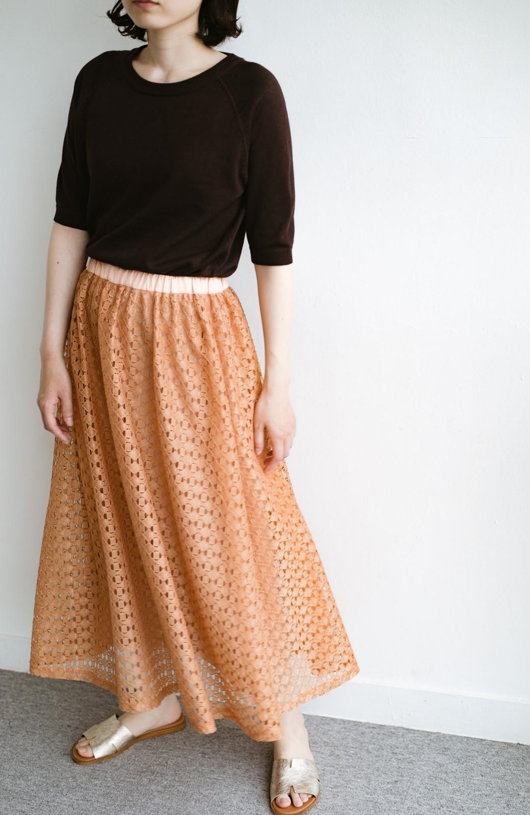 haco! 【洗濯機洗いOK】華やぎコーデを完成させる スクエアレースのカラーロングスカート <オレンジ>の商品写真9