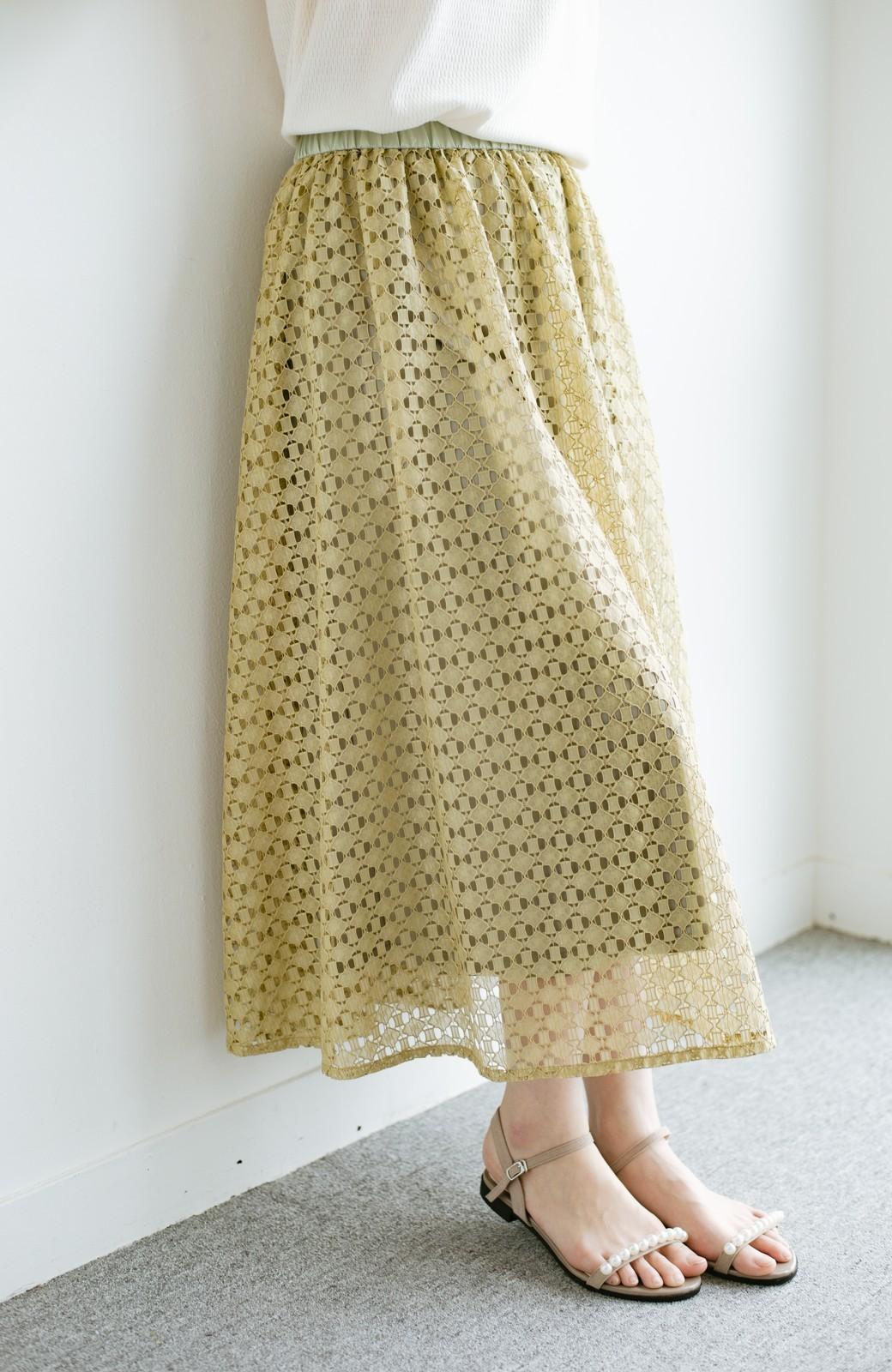 haco! 【洗濯機洗いOK】華やぎコーデを完成させる スクエアレースのカラーロングスカート <ライトカーキ>の商品写真7