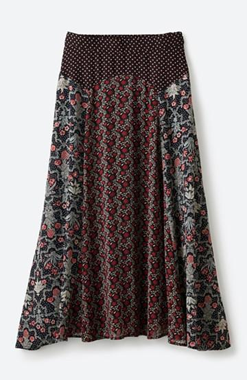 haco! 【洗濯機洗いOK】シンプルなトップスに合わせるだけでかわいくなれる MIX柄スカート <ブラック系その他>の商品写真