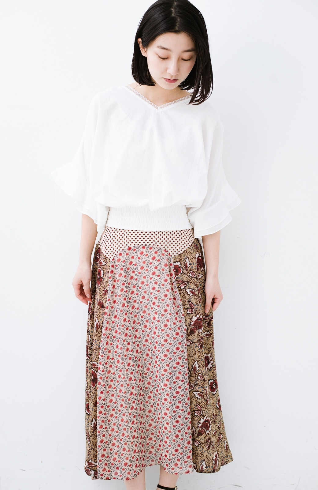 haco! 【洗濯機洗いOK】シンプルなトップスに合わせるだけでかわいくなれる MIX柄スカート <ベージュ系その他>の商品写真13