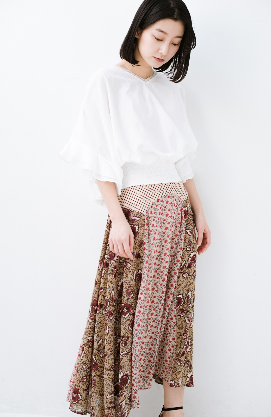 haco! 【洗濯機洗いOK】シンプルなトップスに合わせるだけでかわいくなれる MIX柄スカート <ベージュ系その他>の商品写真15