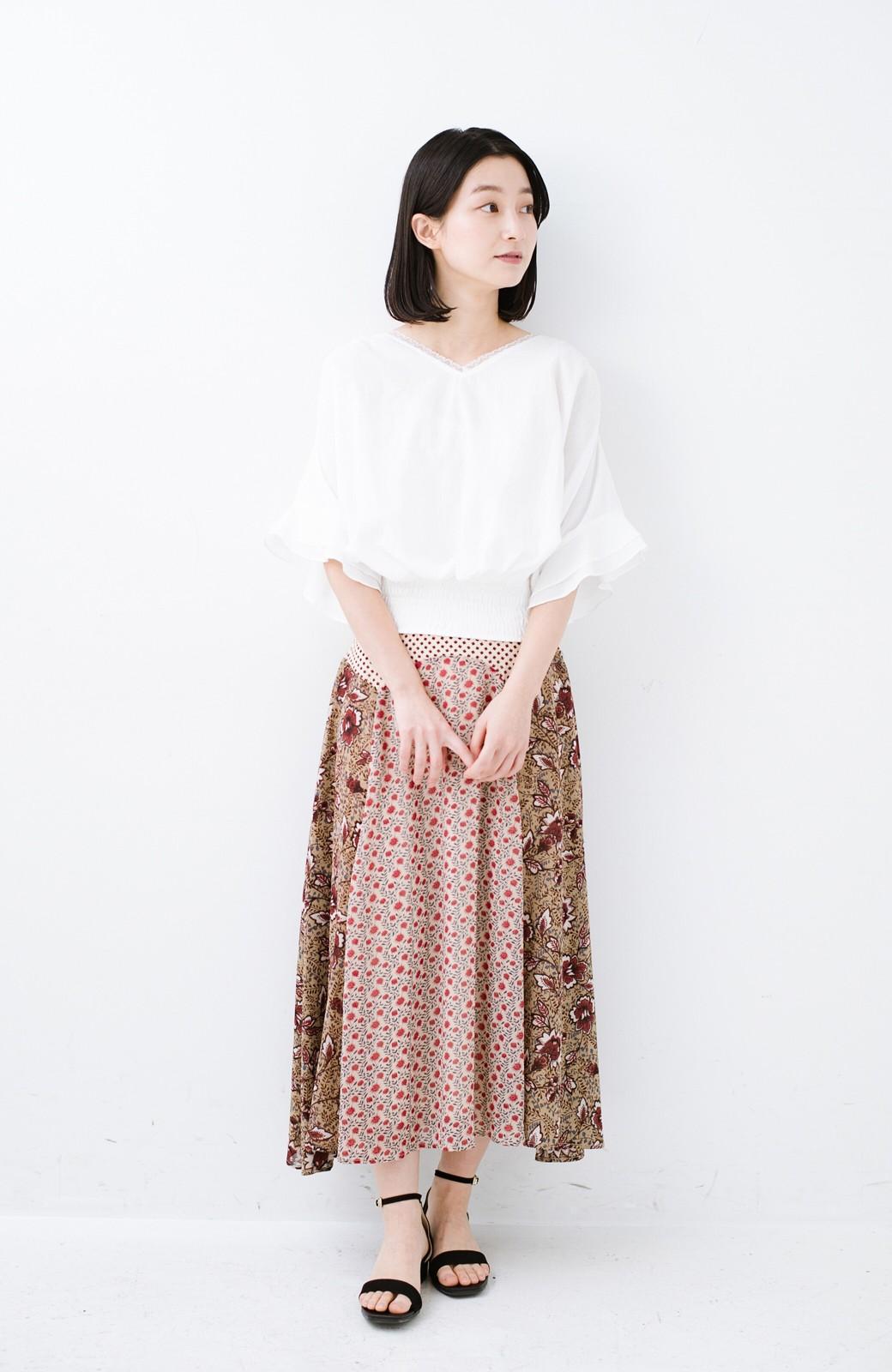 haco! 【洗濯機洗いOK】シンプルなトップスに合わせるだけでかわいくなれる MIX柄スカート <ベージュ系その他>の商品写真10