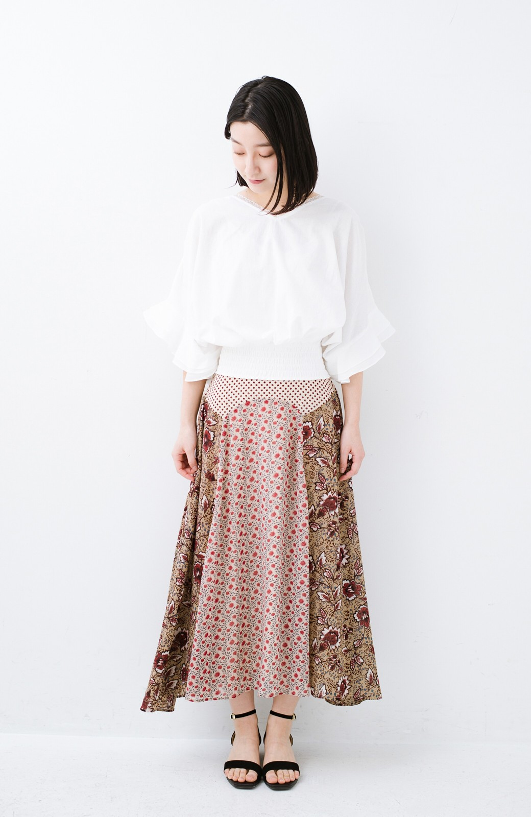 haco! 【洗濯機洗いOK】シンプルなトップスに合わせるだけでかわいくなれる MIX柄スカート <ベージュ系その他>の商品写真16