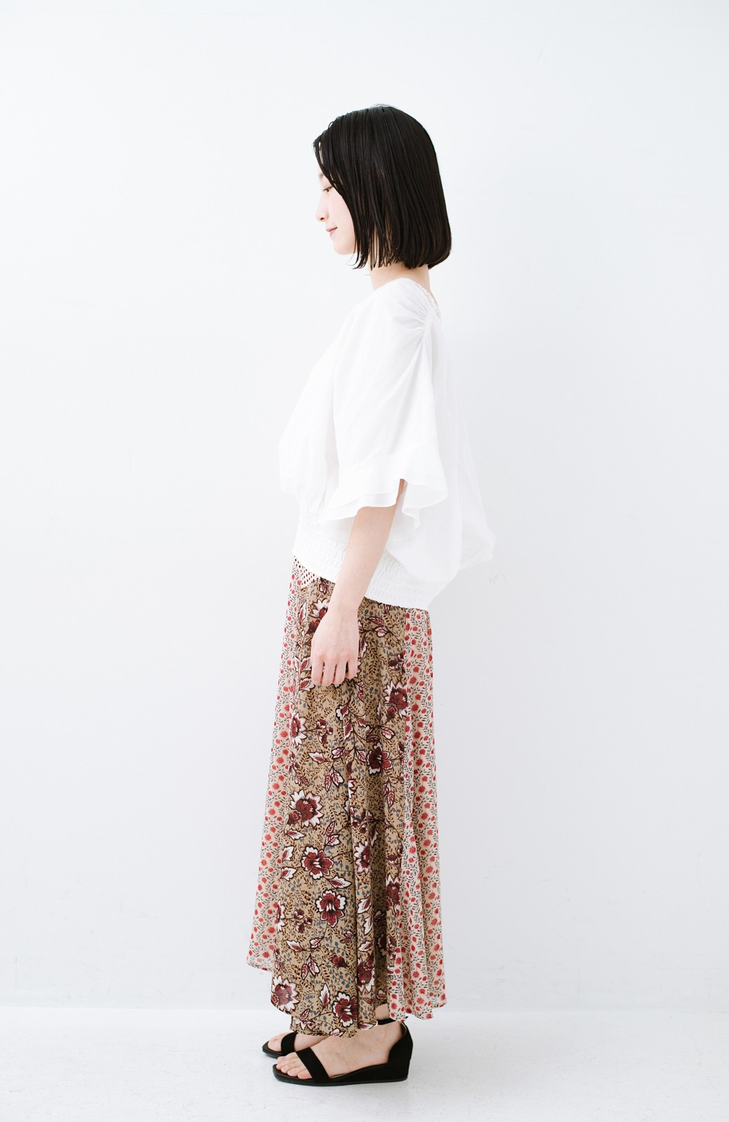haco! 【洗濯機洗いOK】シンプルなトップスに合わせるだけでかわいくなれる MIX柄スカート <ベージュ系その他>の商品写真12