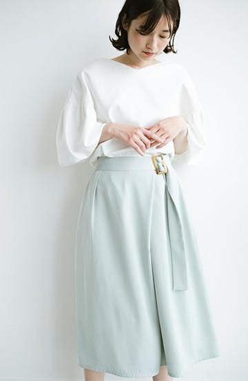 haco! スカート見えしつつ ちゃんと動きやすいバックル付きフレアーパンツ <ミント>の商品写真