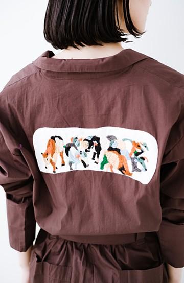 haco! Stitch by Stitch (cow)オーガニックコットンのシャツオールインワン <バーガンディー>の商品写真