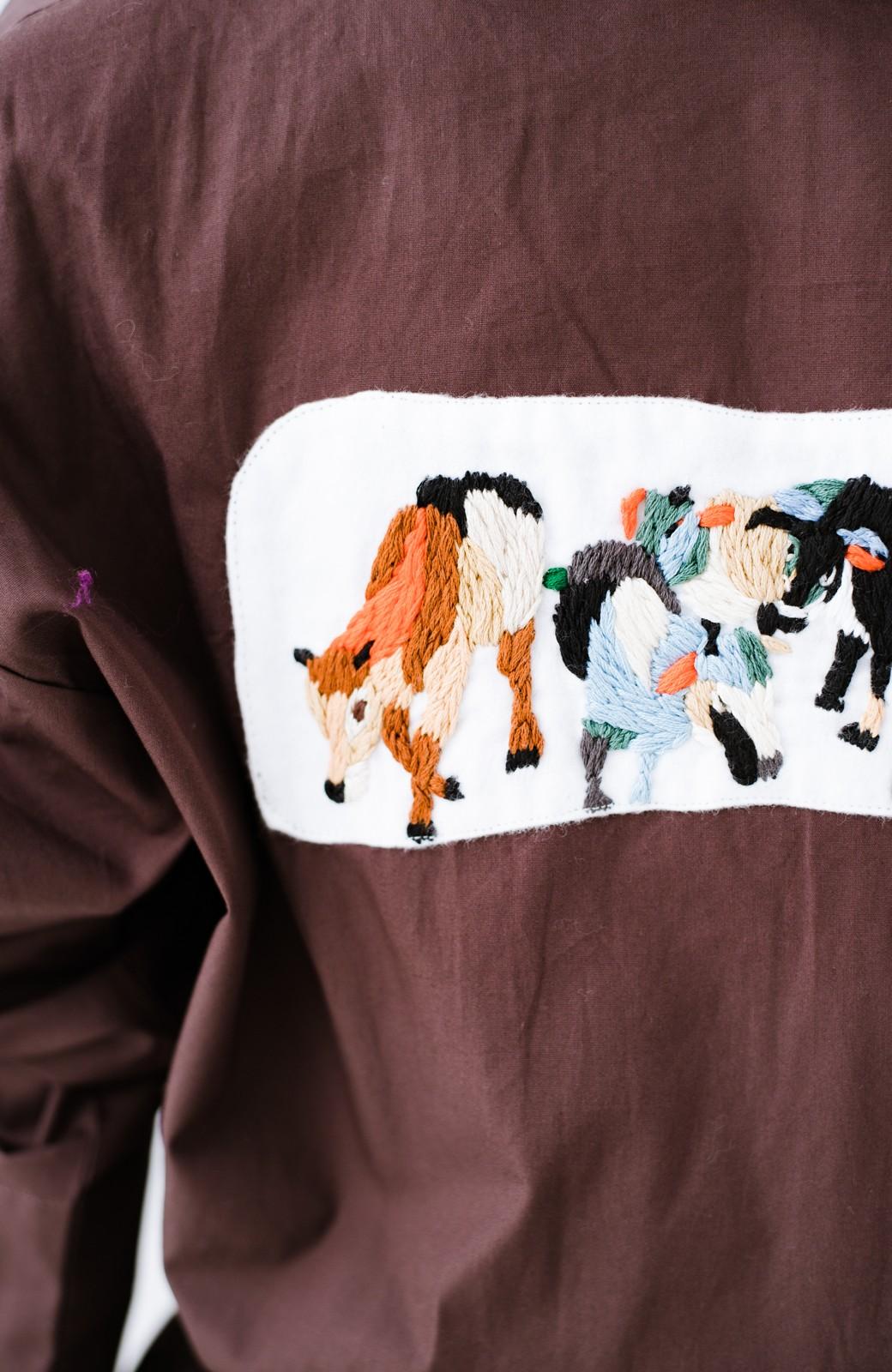 haco! Stitch by Stitch (cow)オーガニックコットンのシャツオールインワン <バーガンディー>の商品写真5