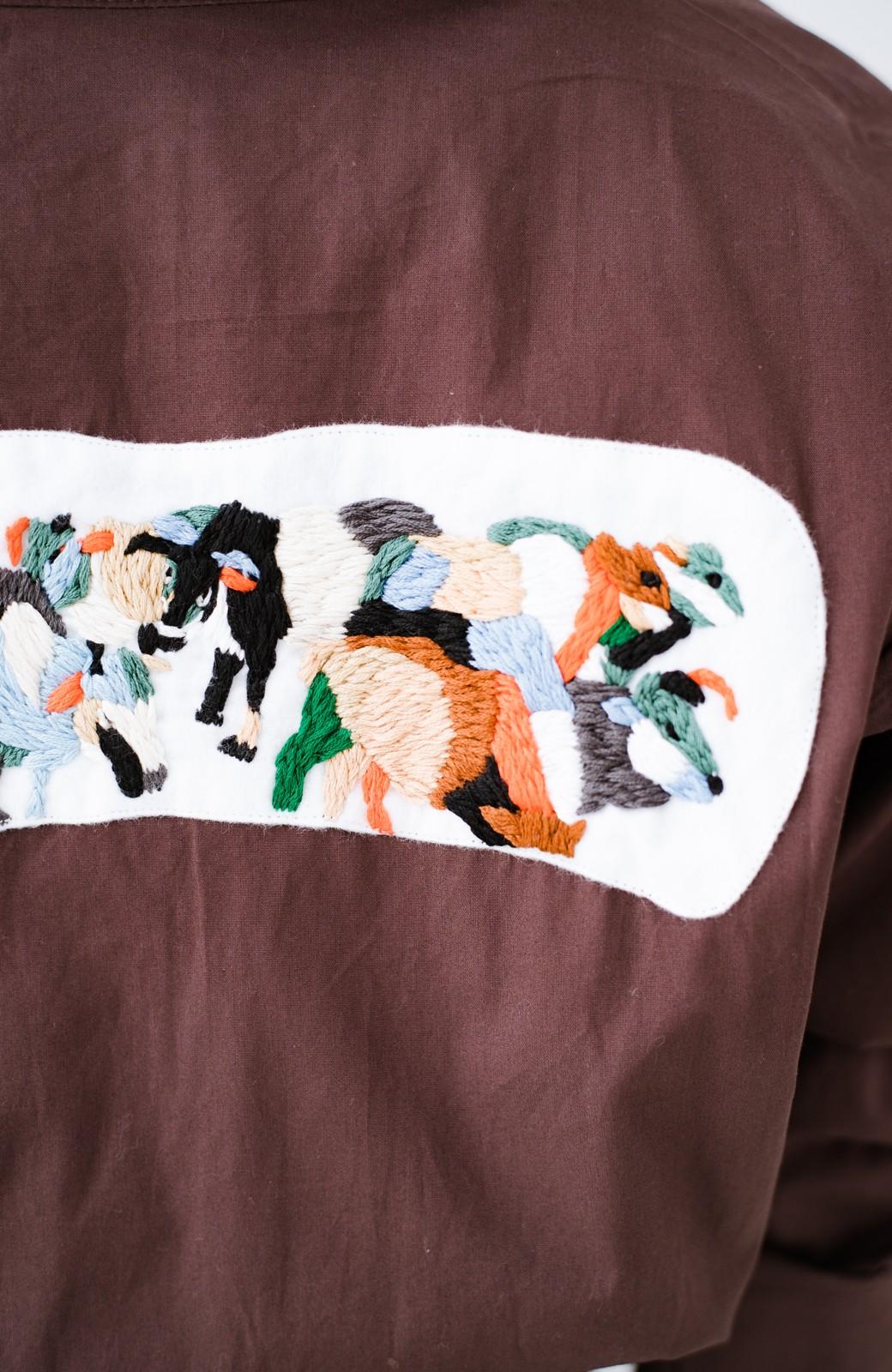 haco! Stitch by Stitch (cow)オーガニックコットンのシャツオールインワン <バーガンディー>の商品写真6