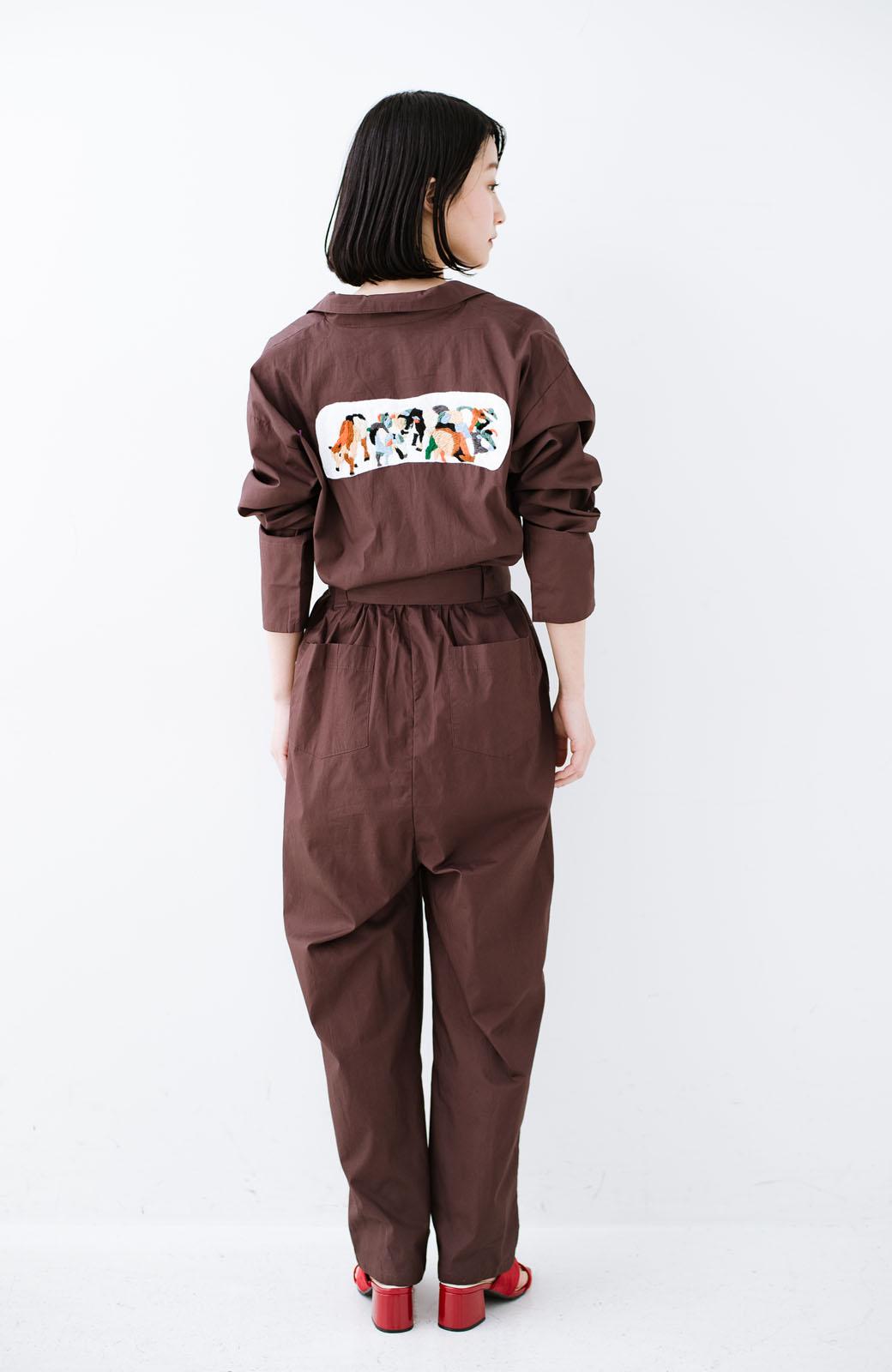 haco! Stitch by Stitch (cow)オーガニックコットンのシャツオールインワン <バーガンディー>の商品写真2