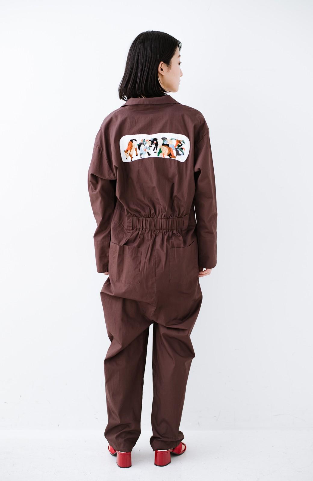 haco! Stitch by Stitch (cow)オーガニックコットンのシャツオールインワン <バーガンディー>の商品写真11