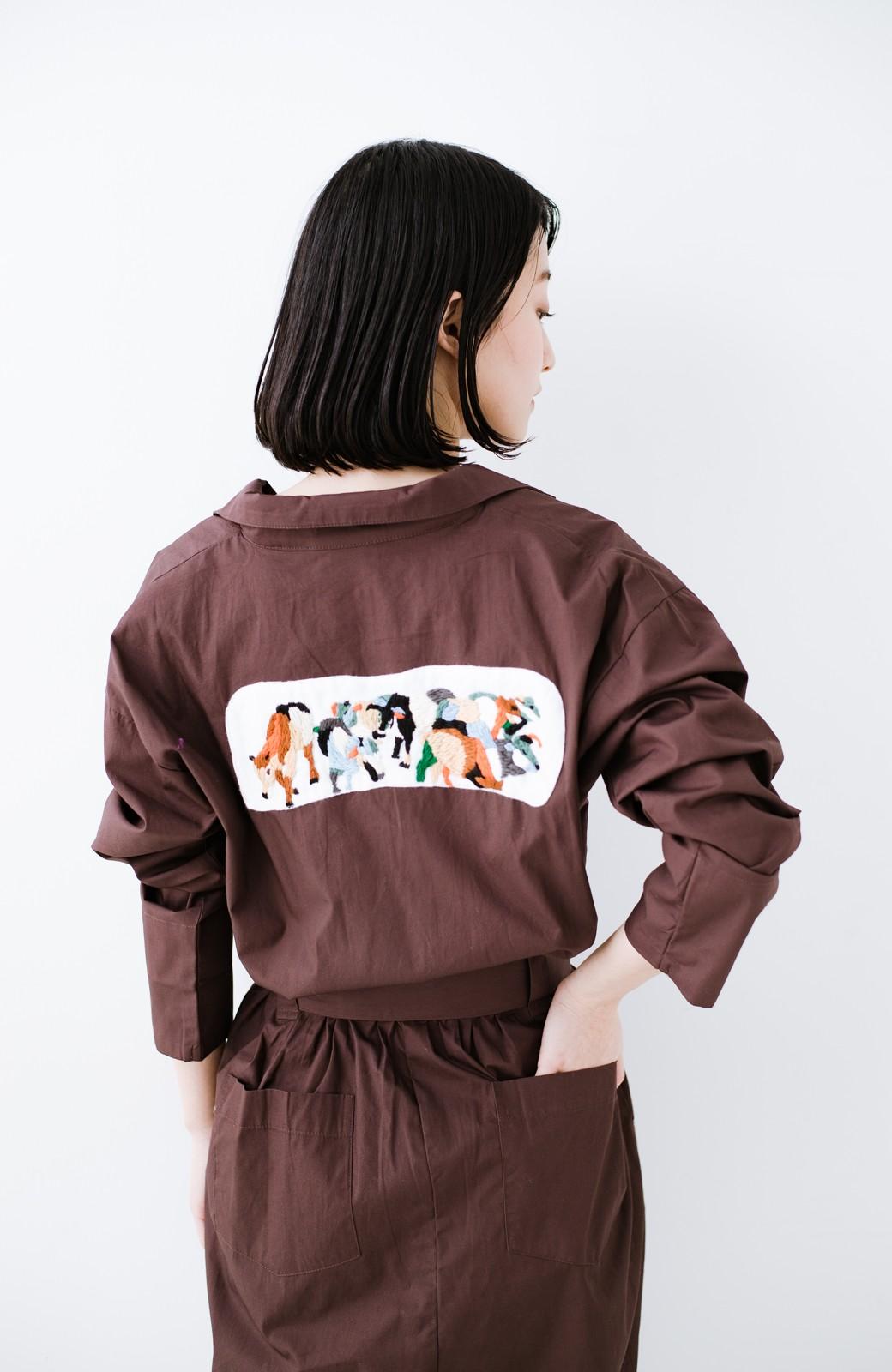 haco! Stitch by Stitch (cow)オーガニックコットンのシャツオールインワン <バーガンディー>の商品写真12