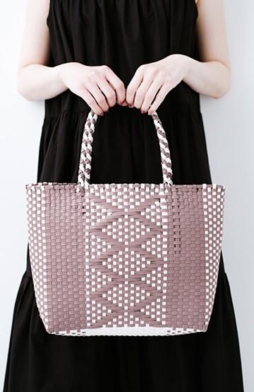 haco! 編み柄がかわいい かごトートバッグ <グレイッシュパープル>の商品写真