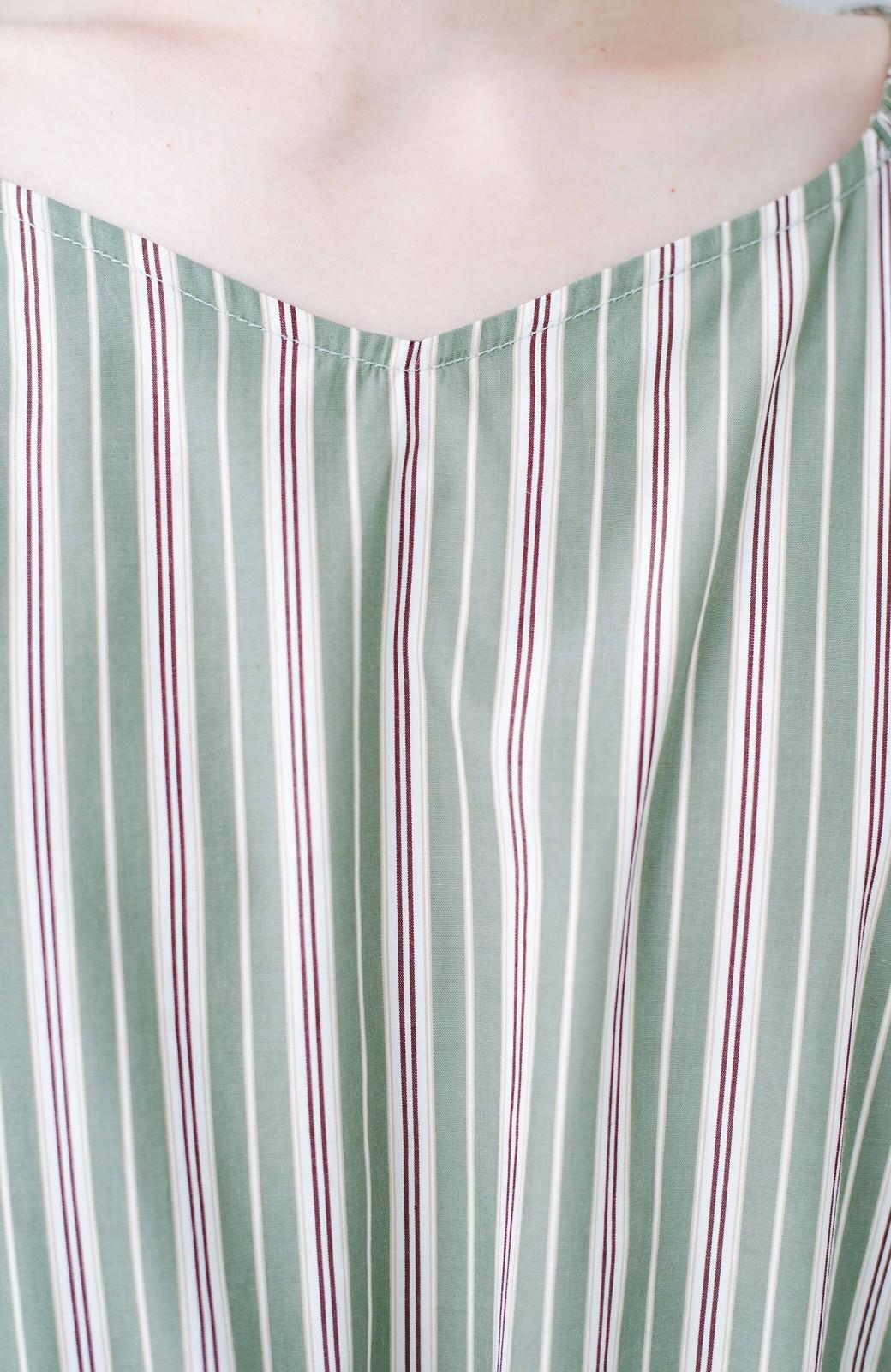 haco! パッと着て、今っぽかわいくなれる ウエストリボンがポイントのマルチストライプワンピース <グリーン>の商品写真6