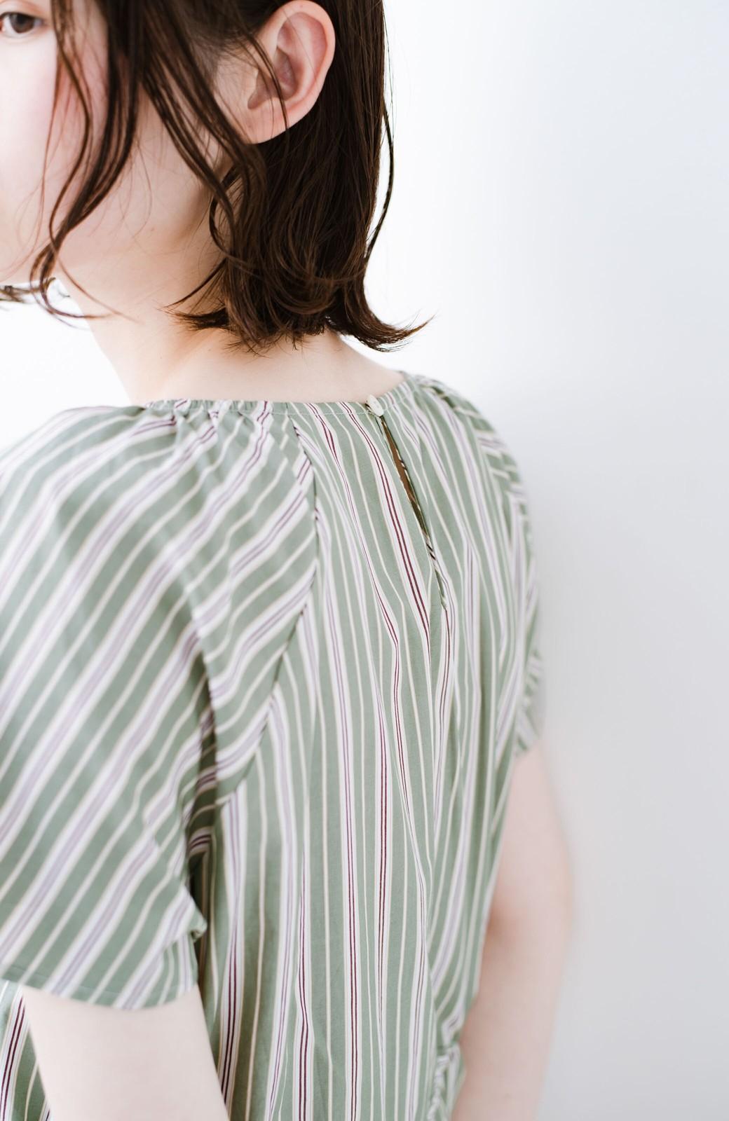 haco! パッと着て、今っぽかわいくなれる ウエストリボンがポイントのマルチストライプワンピース <グリーン>の商品写真8