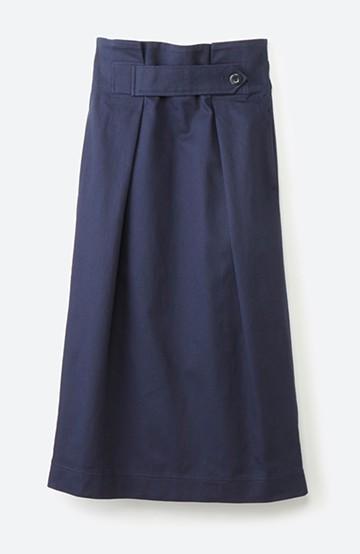 haco! ボタンがポイントのカジュアルにもきれいにもはけるセミタイトスカート <ネイビー>の商品写真