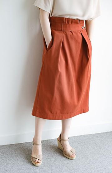 haco! ボタンがポイントのカジュアルにもきれいにもはけるセミタイトスカート <オレンジ>の商品写真