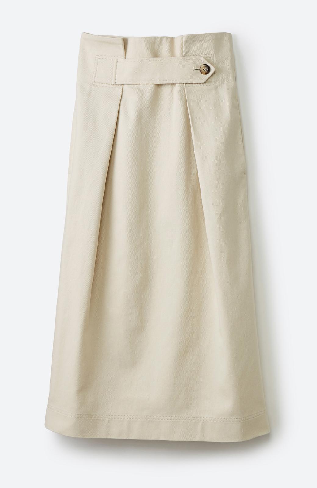haco! ボタンがポイントのカジュアルにもきれいにもはけるセミタイトスカート <ライトベージュ>の商品写真2