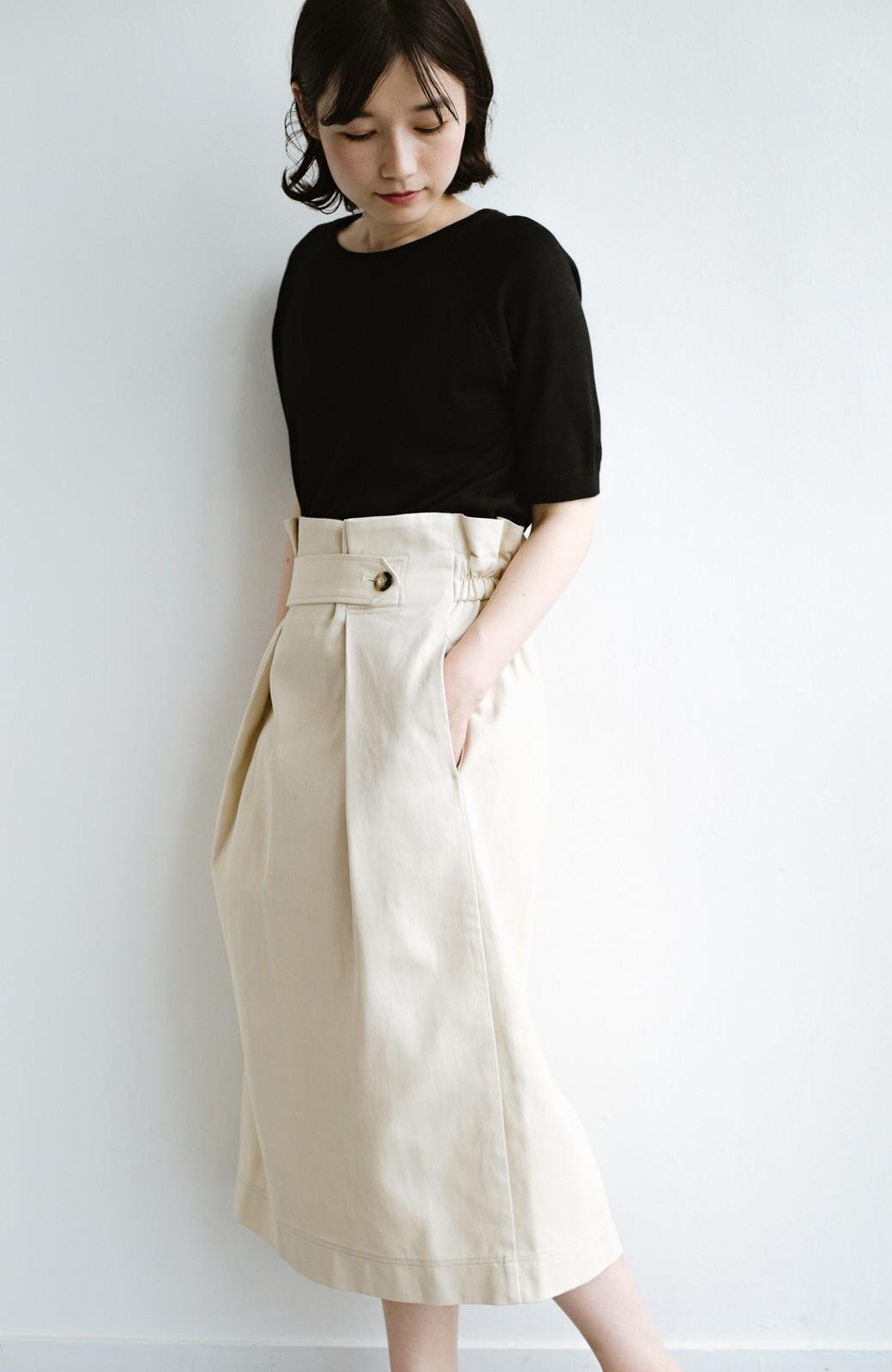 haco! ボタンがポイントのカジュアルにもきれいにもはけるセミタイトスカート <ライトベージュ>の商品写真6