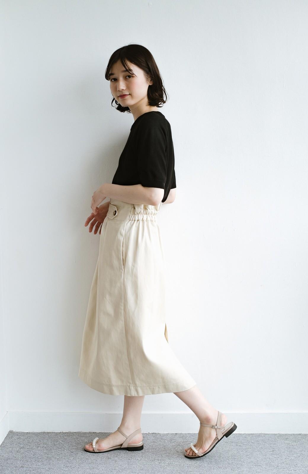 haco! ボタンがポイントのカジュアルにもきれいにもはけるセミタイトスカート <ライトベージュ>の商品写真8