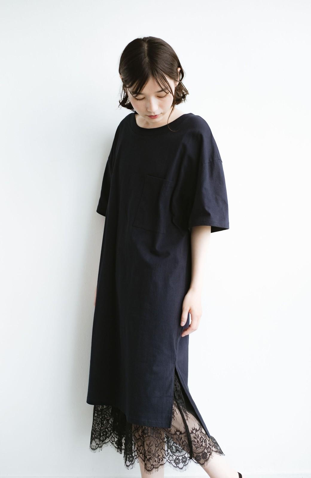 haco! 1枚で着ても重ね着もかわいいビッグTシャツワンピース <ダークネイビー>の商品写真12