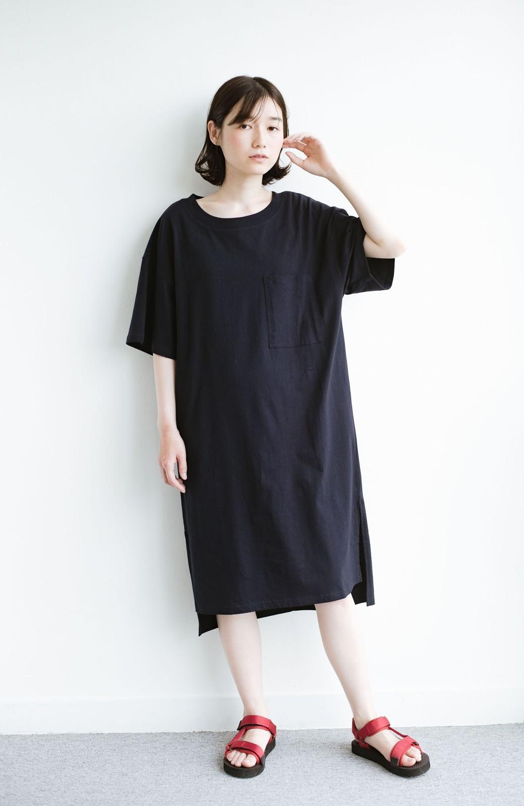 haco! 1枚で着ても重ね着もかわいいビッグTシャツワンピース <ダークネイビー>の商品写真10