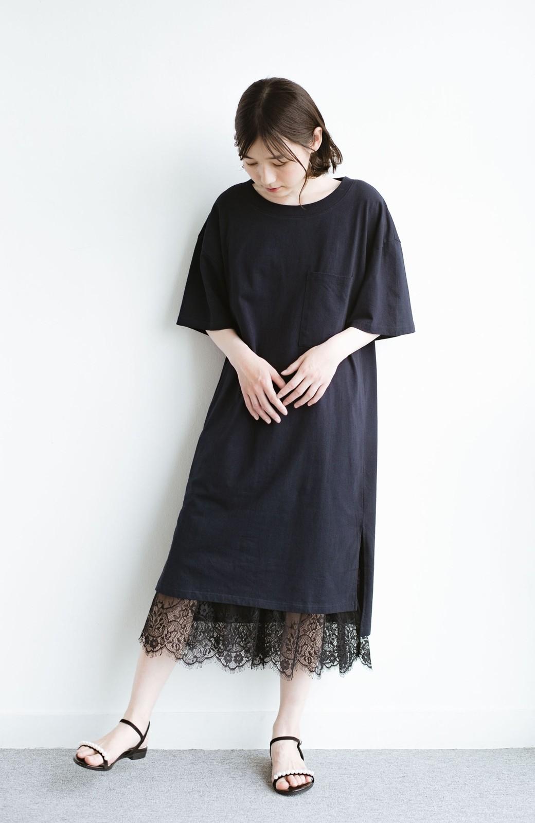 haco! 1枚で着ても重ね着もかわいいビッグTシャツワンピース <ダークネイビー>の商品写真6
