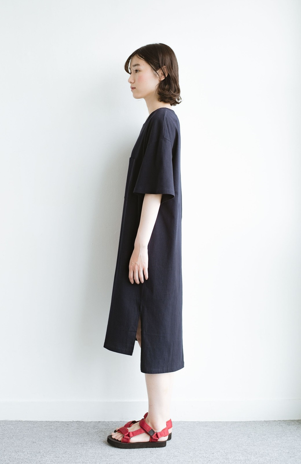 haco! 1枚で着ても重ね着もかわいいビッグTシャツワンピース <ダークネイビー>の商品写真11