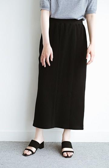 haco! 気軽にはいてもオンナっぽさを忘れない変わりワッフルタイトスカート by MAKORI <ブラック>の商品写真