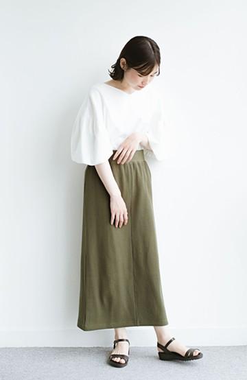 haco! 気軽にはいてもオンナっぽさを忘れない変わりワッフルタイトスカート by MAKORI <カーキ>の商品写真