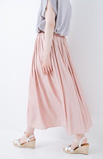 haco! 【人気のため新色追加!】1枚でも重ね着にも便利なキラキラ素材がかわいいロングスカート by laulea <ピンク>の商品写真