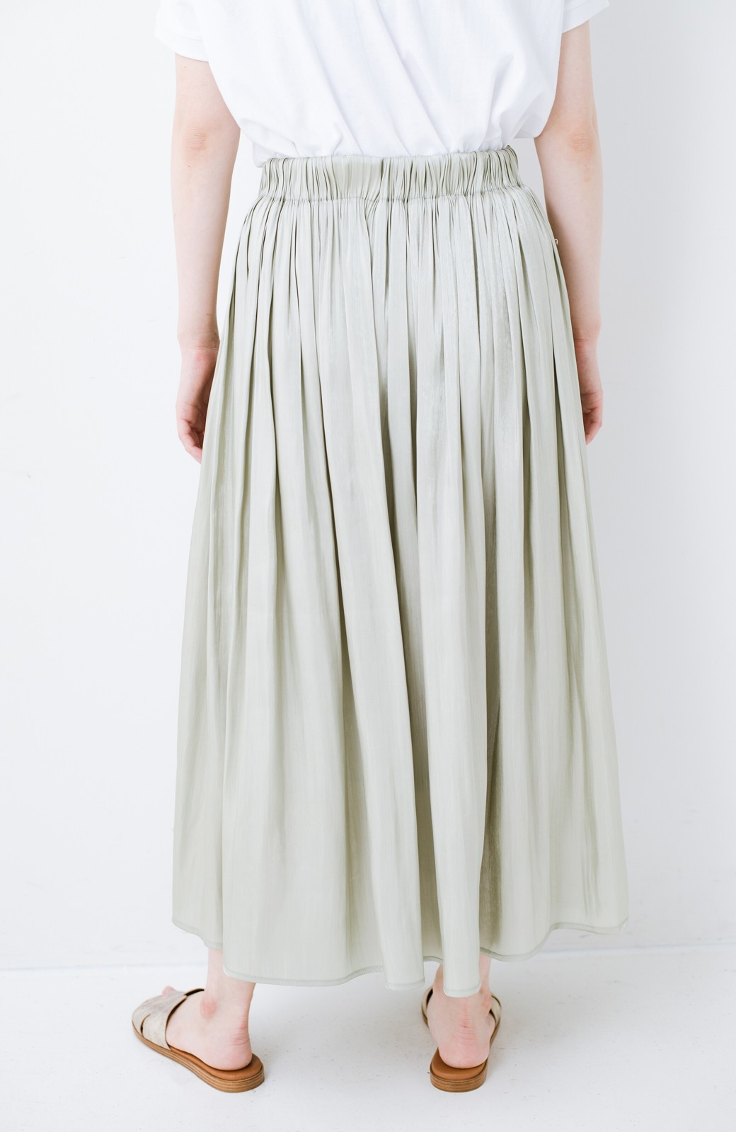 haco! 【再入荷】1枚でも重ね着にも便利なキラキラ素材がかわいいロングスカート by laulea <グリーン>の商品写真10
