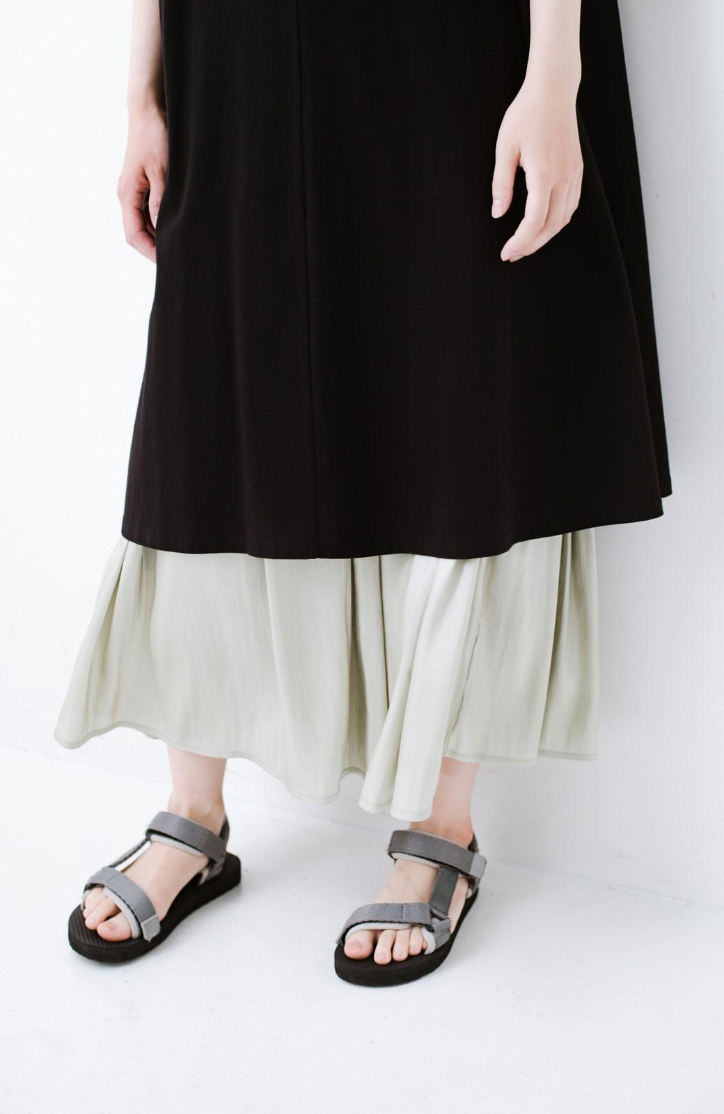 haco! 【再入荷】1枚でも重ね着にも便利なキラキラ素材がかわいいロングスカート by laulea <グリーン>の商品写真8