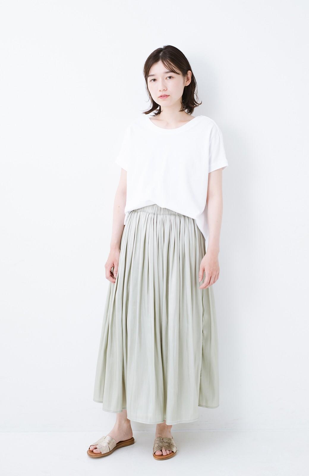 haco! 【再入荷】1枚でも重ね着にも便利なキラキラ素材がかわいいロングスカート by laulea <グリーン>の商品写真5