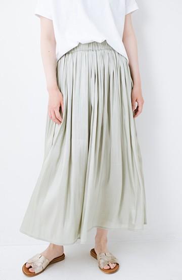 haco! 【再入荷】1枚でも重ね着にも便利なキラキラ素材がかわいいロングスカート by laulea <グリーン>の商品写真