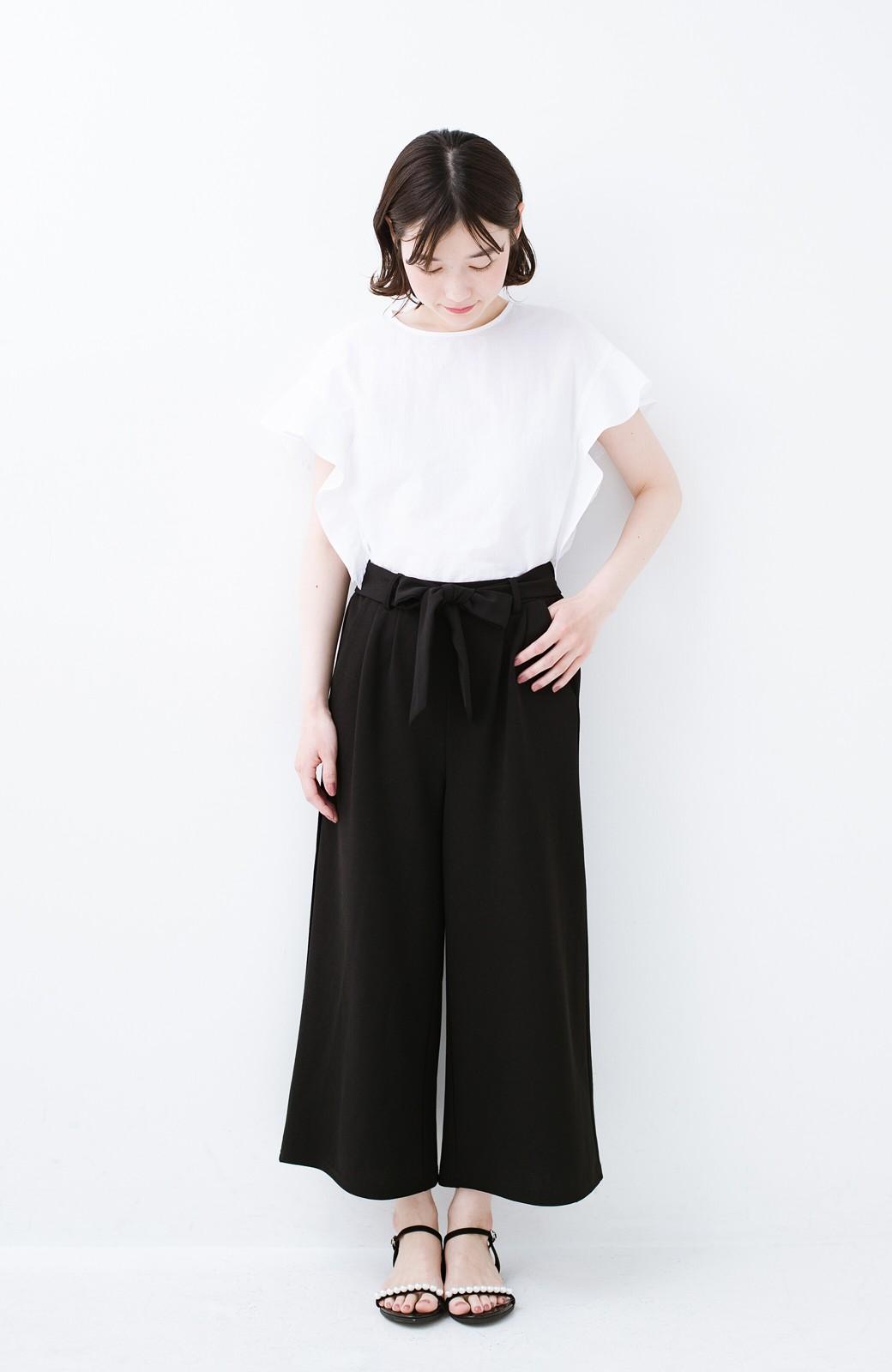 haco! きれいに見えて実は動きやすい!とにかく便利な短め丈パンツ by Nohea <ブラック>の商品写真12