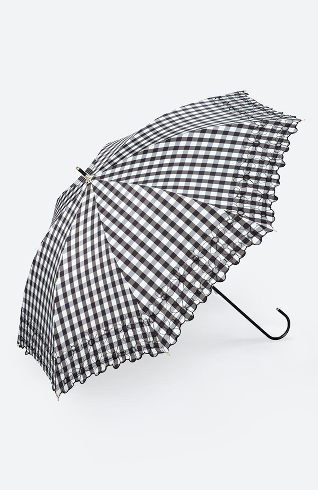haco! Wpc. <晴雨兼用>遮光ギンガムチェックフラワー刺繍日傘 <ブラック>の商品写真1