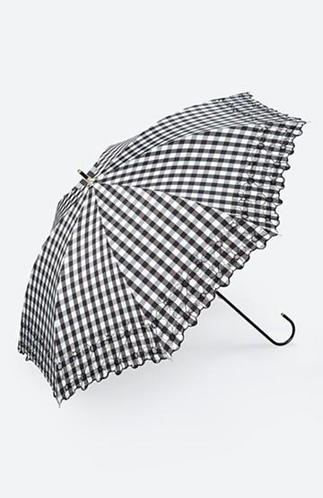 haco! Wpc. <晴雨兼用>遮光ギンガムチェックフラワー刺繍日傘 <ブラック>の商品写真