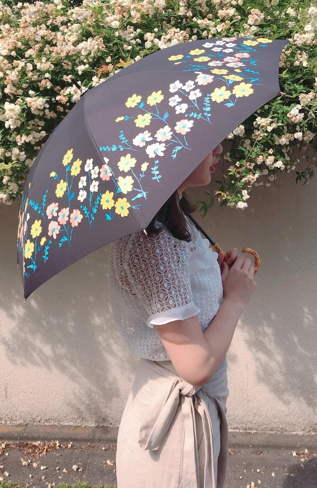 haco! Wpc.<晴雨兼用>フラワーベッド柄日傘 <ブラック>の商品写真2