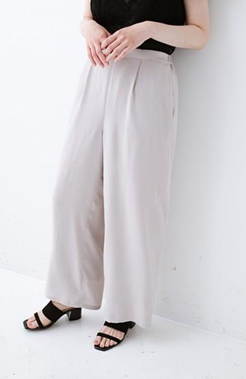 haco! 【再入荷】旅行にも重ね着にも便利な楽ちんワイドパンツ <ライトグレー>の商品写真