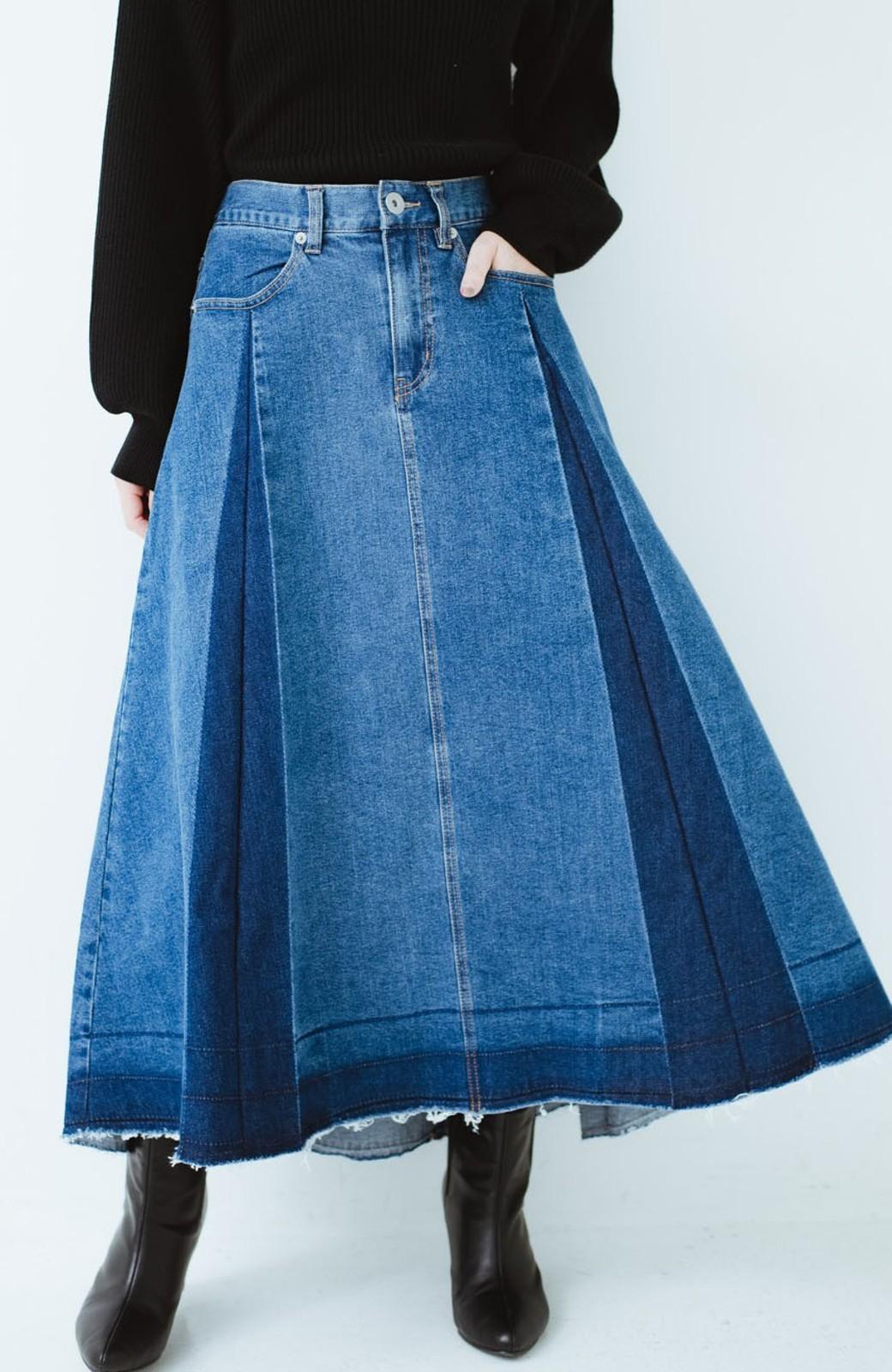 haco! 【再再再入荷!】デニムパネルプリーツスカート <ブルー>の商品写真1