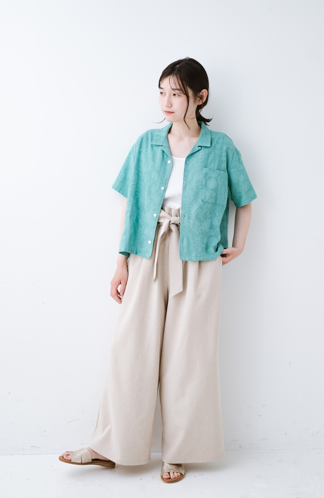 haco! 【今年も再販!】京都の浴衣屋さんと作った浴衣生地のシャツ <グリーン>の商品写真5