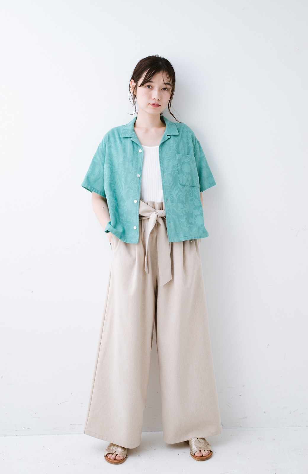 haco! 【今年も再販!】京都の浴衣屋さんと作った浴衣生地のシャツ <グリーン>の商品写真14