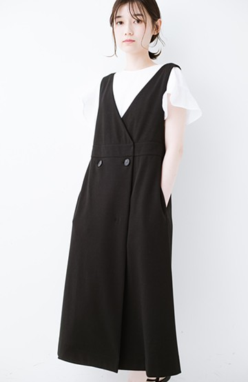 haco! 【再入荷】頑張りすぎずにちゃんとかわいい カットソージャンパースカート <ブラック>の商品写真