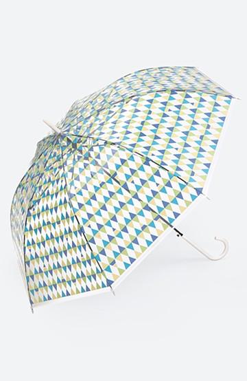 haco! Wpc. 透明傘もかわいくいたい プラスティックアンブレラ サカナチェック <グリーン>の商品写真