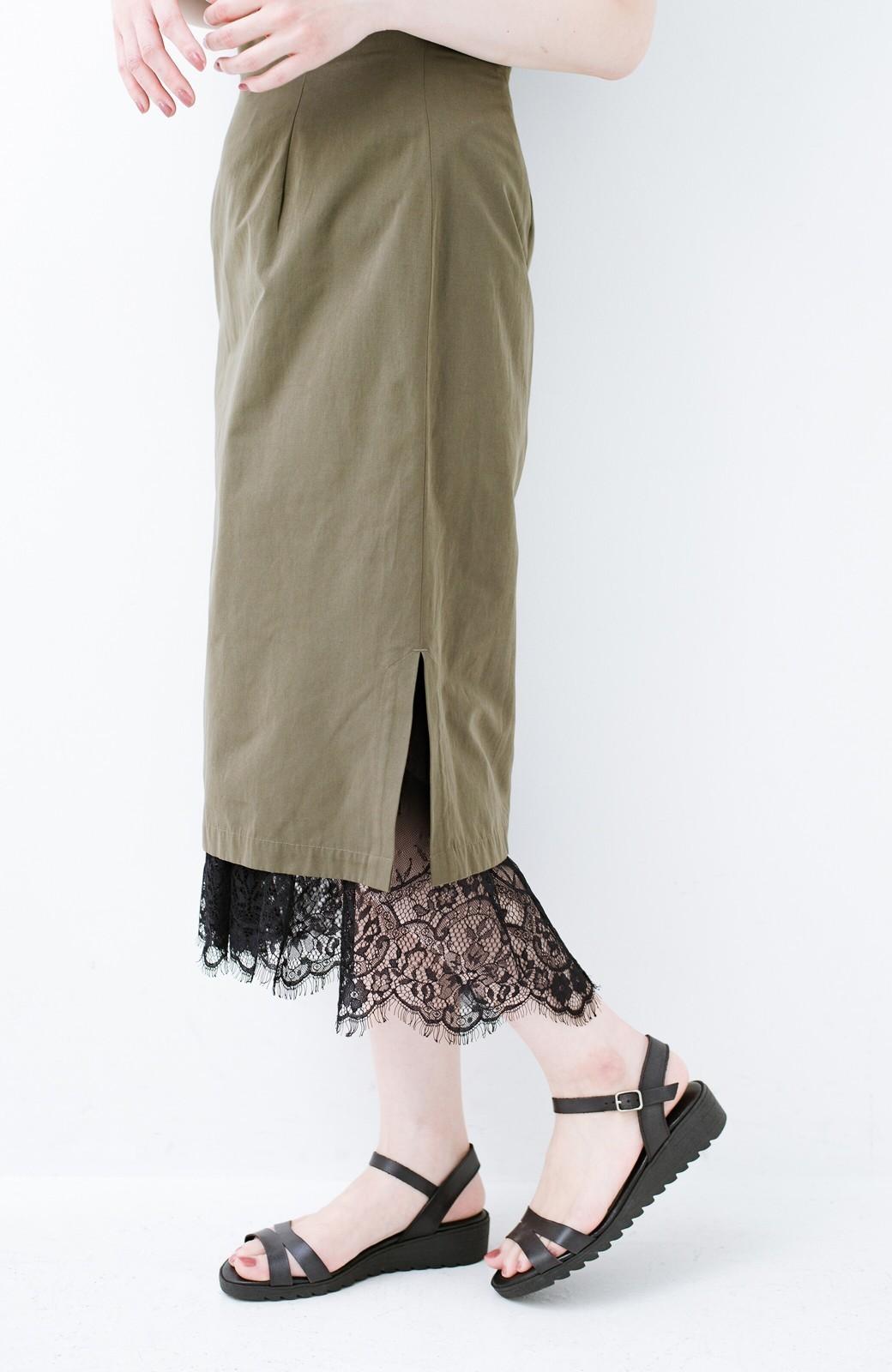 haco! はくだけで華やかなきれいシルエットの重ねタイトスカート by MAKORI <カーキ>の商品写真1