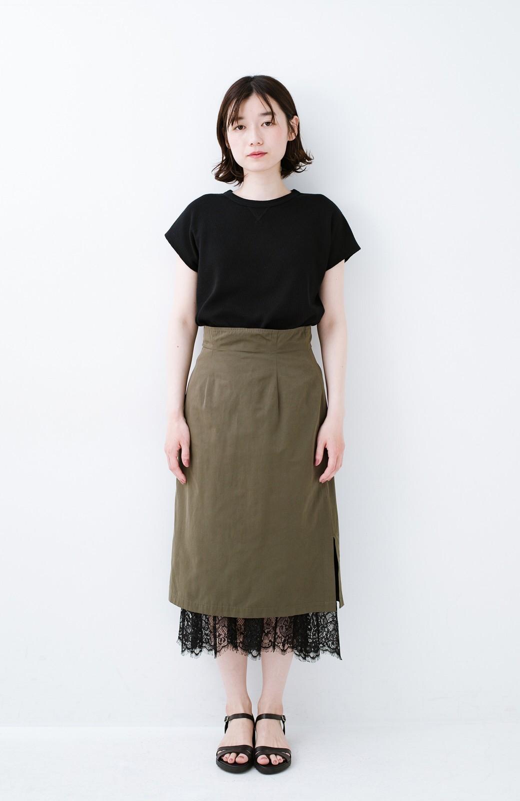 haco! はくだけで華やかなきれいシルエットの重ねタイトスカート by MAKORI <カーキ>の商品写真3