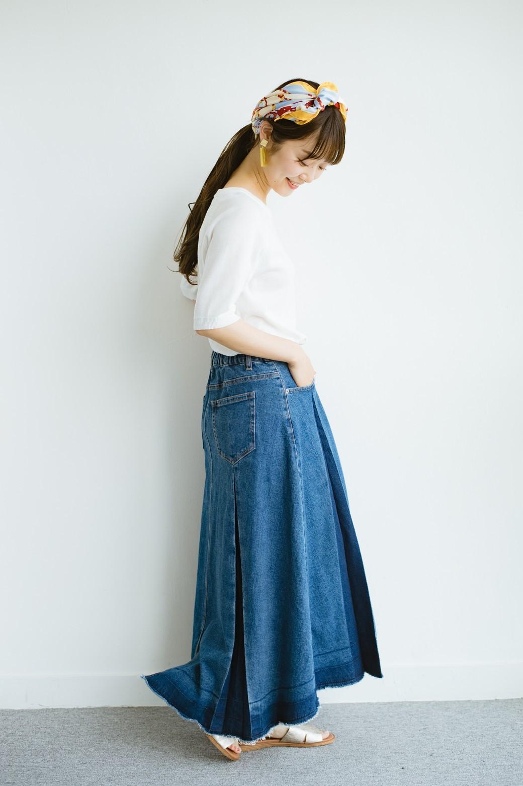 haco! 【新色登場&再入荷!】デニムパネルプリーツスカート <ブルー>の商品写真22