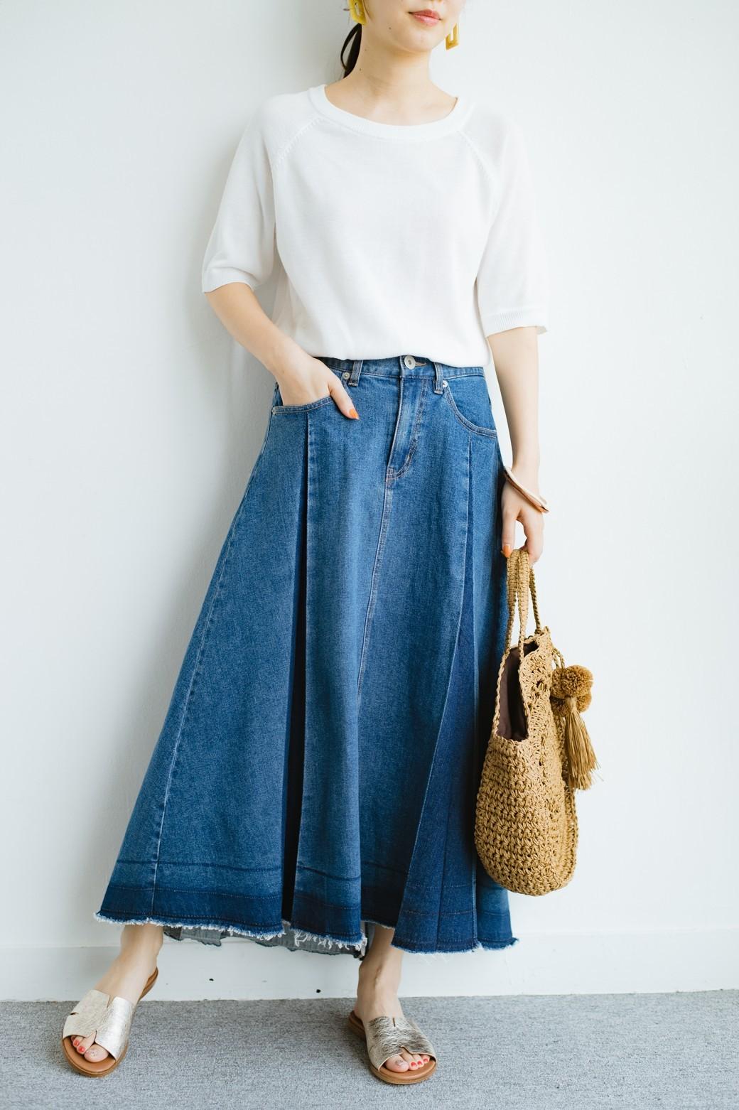 haco! 【新色登場&再入荷!】デニムパネルプリーツスカート <ブルー>の商品写真2
