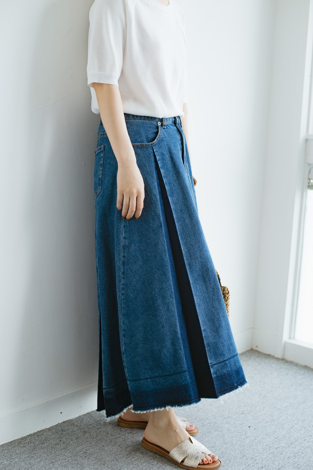 haco! 【再再再入荷!】デニムパネルプリーツスカート <ブルー>の商品写真26