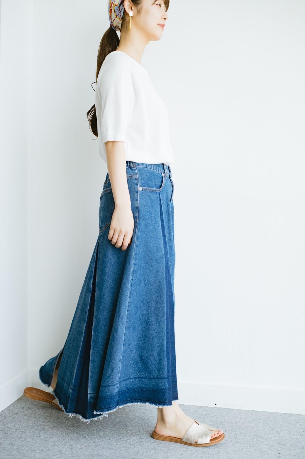 haco! 【再再再入荷!】デニムパネルプリーツスカート <ブルー>の商品写真14